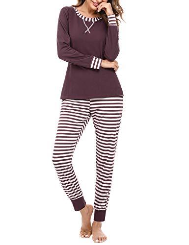 iClosam Damen Lang Pyjama Set Schlafanzug Baumwolle Zweiteiliger Nachtwäsche...