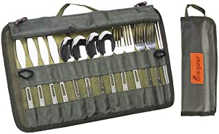 Bisgear 13pcs Silverware Flatware Cutlery Family Set with Travel Case, Backpacking Camping Cookware Kitchen Stainless Steel UtensilInclude Knife Fork Spoon Chopstick