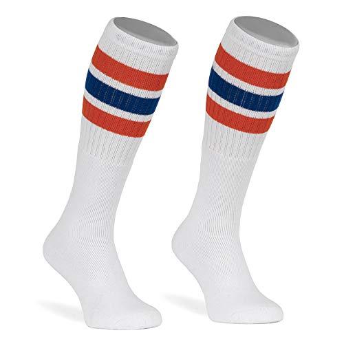skatersocks 22 Inch Tube Socks weiß orange blau gestreift Skater Socken für Damen & Herren mit Streifen