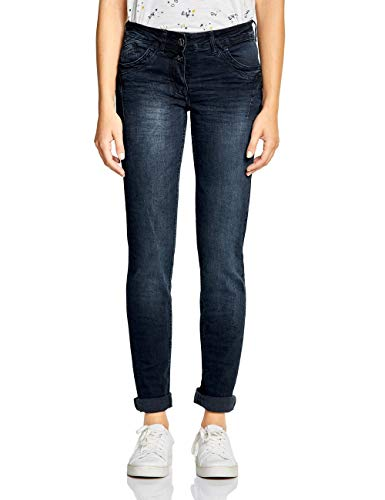 CECIL Damen Tapered Jeans Scarlett, Blue/Black Used Wash, 27/34