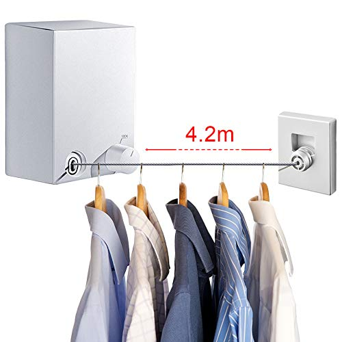 LIVEHITOP Clothes Drying Line, Retractable Clothesline Stainless Steel...