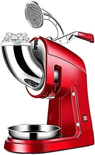 Trituradora de hielo con tazón de hielo y pala de doble cuchilla de acero inoxidable, máquina de afeitadora de hielo para helados, bebidas frías, postre de frutas y cóctel, rojo