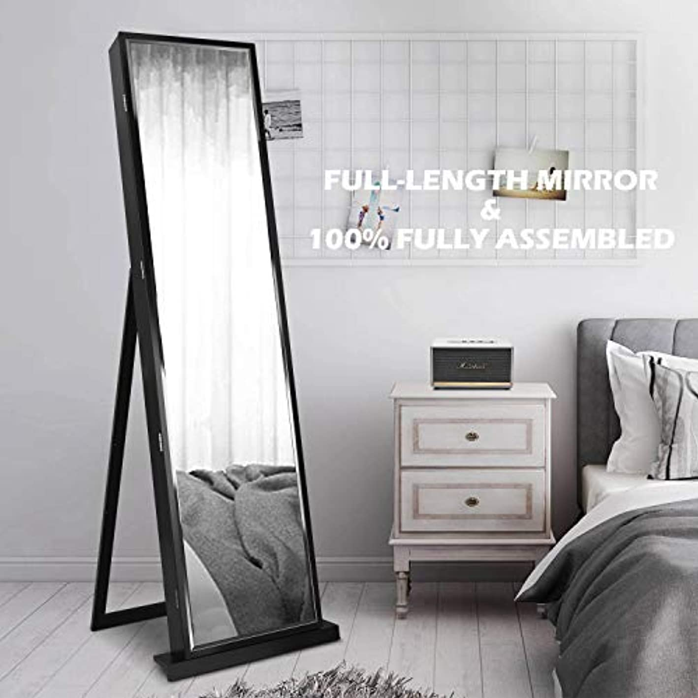 79 LED Jewelry Armoires,Jewelry Storage Cabinets,Standing Wall Jewelry Organizer with Full Length Mirror-Black