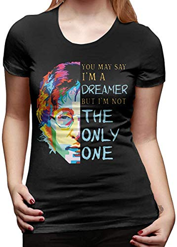 John Lennon Imagine Women's Fashion T-Shirts Summer Crewneck Printed Short Sleeve Tee Tops Shirts