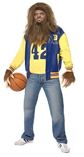 Smiffys Licenciado Oficialmente Disfraz de Teen Wolf, Azul, con Cazadora, Camiseta, Guantes, Peluca y Barba
