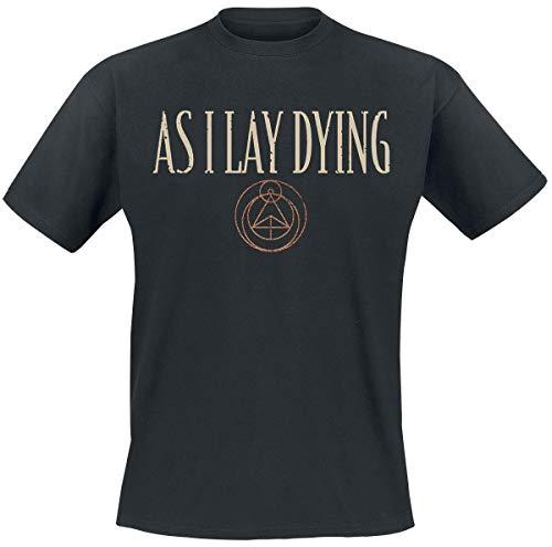 As I Lay Dying Skulls Hombre Camiseta Negro L, 100% algodón, Regular