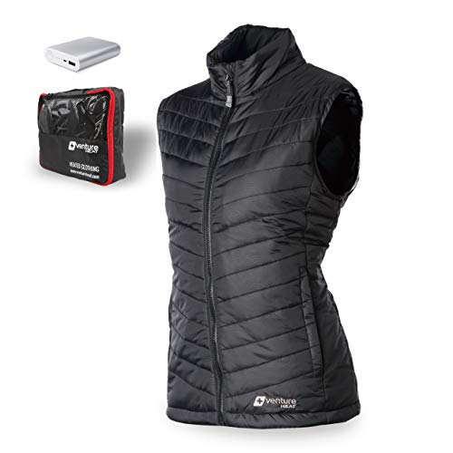 Venture Heat Women's Heated Vest with Battery 12 Hour - The Roam Puffer Heated Vest for Women, USB Powered (S, White)