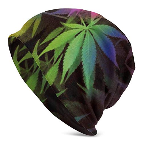 Viplili Tie Dye Pot Leaf Weeds Men Slouchy Beanie Cap Women Headwear Sleep Cap Skull Cap Knitted Hat