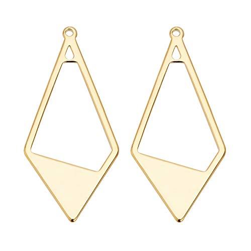 BENECREAT 20 PCS Colgantes Chapados en Oro 18K Geometría de Oro Rombo Encantos de Latón (36x17x1mm) Collar Pendientes Regalo de Joyería para Mujeres Adolescentes Niñas
