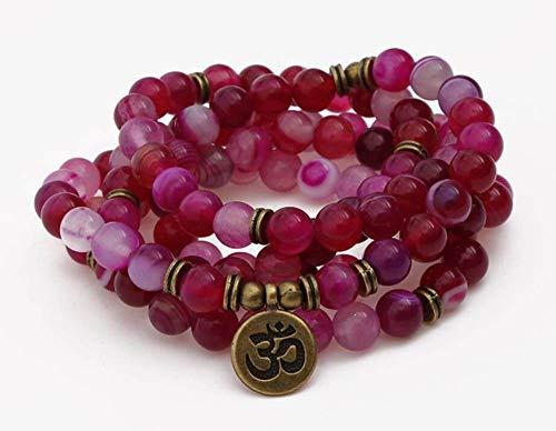 Natuurlijke stenen armband, kralen armband 108 modieus yoga energie kralen armband 8 mm paars gebarsten agaat steen trui ketting hanger hanger stretch kraal armband sieraden persoonlijke kleding