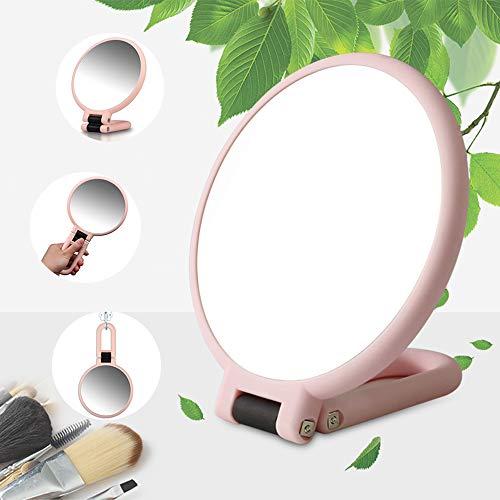 Miroir Maquillage Double Face Glace Grossissant X5/X1 Miroir à Main avec Pliable Poignée/Sur Pied,Miroir de Voyage pour Fille Femme,Miroir Poche Portatif,Poser Suspendu Orientable,Rond Petit (Rose)