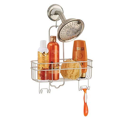 mDesign Bad Duschablage ohne Bohren - erweiterbare Hängeablage mit Aufbewahrungskorb und 4 Haken für die Dusche - platzsparendes Duschregal aus Metall - mattsilber