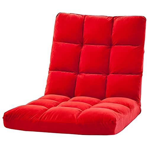 WHOJA Sillón Reclinable Sillón reclinable sin Patas 6 velocidades Ajustables Terciopelo Suave Dormitorio Sala de Estar Marco de Metal Peso del rodamiento 120kg 110x55x10cm Sillon Relax(Color:Rojo)