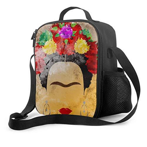 Girls Lunch Bag Frida Kahlo Portrait Style Lunchbox For Boys With Handle Shoulder Strap Reusable Cooler Bag For Men Women Work/school/picnic
