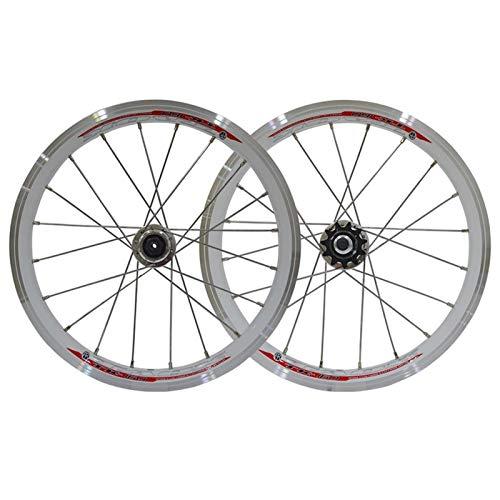 ZNND Juego Ruedas Bicicleta Plegable, 16 Pulgadas Ruedas Traseras Delanteras Bicicleta Freno V 20 Hoyos Hub 11 Velocidades Liberación Rápida Borde Doble Capa (Color : White)