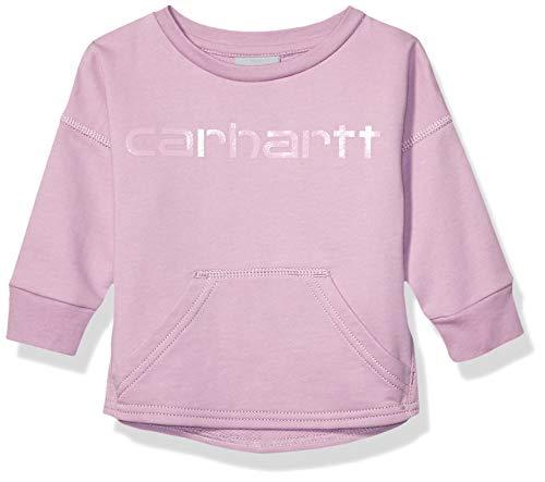 Carhartt Baby Girls French Terry Pullover Sweatshirt, Lavender herb, 6 Months