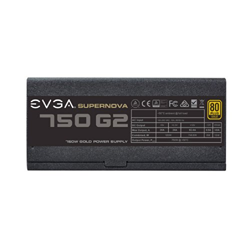 EVGA SuperNOVA 750 G2, 80+ GOLD 750W, Fully Modular, EVGA ECO Modo, 10 anni Garanzia, include il tester automatico-Alimentazione GRATUIT Alimentazione PC 220-G2-0750-X2