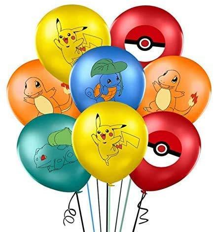 Palloncini Compleanno 40 Pezzi Palloncini Pikachu Palloncini Palloncini in Lattice Palloncini con Lettere con Nastri e Adesivi Trasparenti per Decorazioni di Compleanno