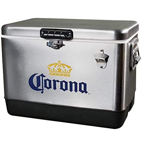 Corona CORIC-54 Stainless Steel Ice Chest Cooler - (54 Quarts/51L) 85 Can Capacity - Includes Bottle Opener, Ideal for camping, picnics, and more 51 Liters Silver, Model Number: CORIC54