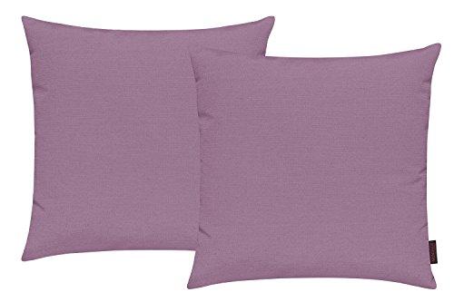 Fino Kissenhülle ca. 50 x 50 cm hochwertig & knitterarm in vielen bunten Farben 090 mauve (2er Set)