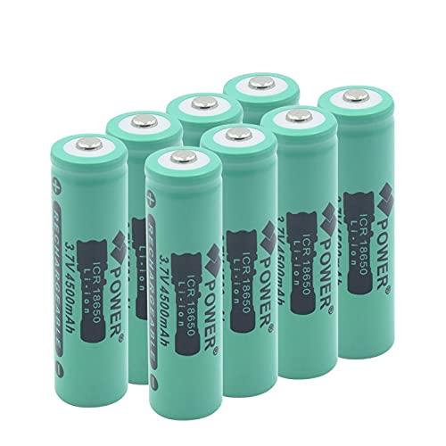 ndegdgswg 3.7V 4500mAh 18650 batería de iones de litio, recargable para el banco de energía de la linterna de la antorcha del LED 8pcs