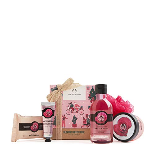 The Body Shop British Rose-5pc Small Gift Set with floral body care treats made with the essence of handpicked rose petals