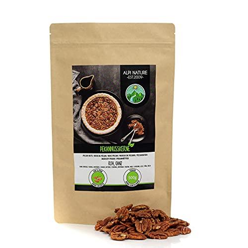 Nueces pecanas (500g), granos de nuez crudos, mitades de nueces sin sal y naturales, nueces de cultivo controlado