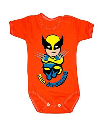 Colour Fashion Grenouillère à manches courtes pour bébé de 24 mois, 100 % coton, motif Wolverine Orange 9-12 months, 80 cm