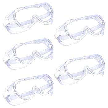 Supernal 5 PCS Anti-Fog Safety Goggles,Protective Safety Goggles Wide-Vision Extra Soft Adjustable & Lightweight,Transparent Safety Glasses for Eye Protection