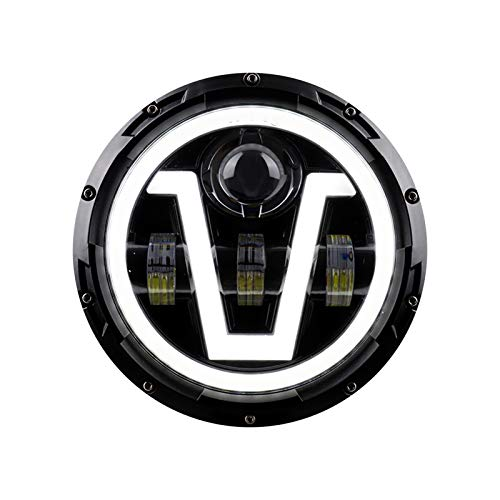 KKmoon Motorrad Scheinwerfer 7 Zoll LED Scheinwerfer mit Blinker DRL Hi/Lo Beam Ersatz für J/e/e/p W/r/a/n/g/l/e/r JK JKU CJ LJ TJ Hummer H1 H2 12V / 24V