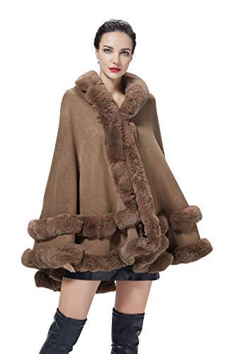 BEAUTELICATE Chal Pelo Estola Piel Sintética Mujer con Capucha Capa de Punto Poncho Boleros Abrigo Cárdigan para Fiesta Boda Invierno