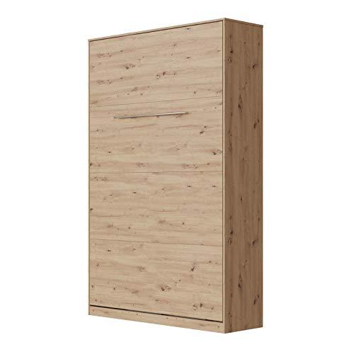 SMARTBett Standard 120x200 Vertikal Wildeiche Schrankbett | ausklappbares Wandbett, ideal geeignet als Wandklappbett fürs Gästezimmer, Büro, Wohnzimmer, Schlafzimmer