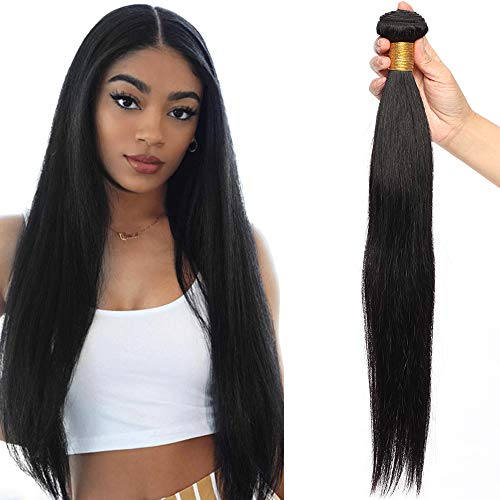 20'(50cm) SEGO Extensiones de Cabello Natural Cortina [#1B Negro Natural] Pelo Humano [Brazilain Human Hair Bundles] Brasileño sin Clip Liso (100g)