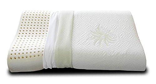 EVERGREENWEB - Cuscino 100% Memory Foam CERVICALE 40x70cm con Fodera Aloe Vera e Cotone Naturale Doppia Onda Ortocervicale Tessuto Sfoderabile e Lavabile Guanciali Letto Ortopedici per Tutti Materassi