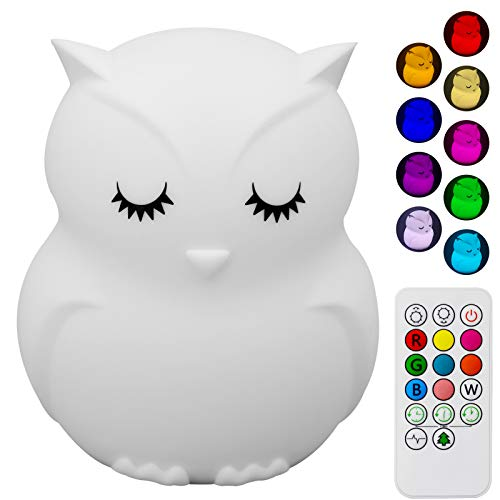 Cute Owl Kids Night Light, Silicone Rechargeable Nursery...