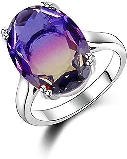 Madame Jewelry Fashion 925 Silver BI-Color Oval Watermelon Tourmaline Gems Wedding Jewelry Ring (10)