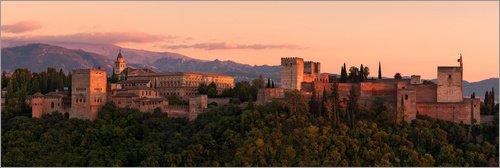 Póster 90 x 30 cm: Spain - Granada Alhambra Sunset de Tobias Richter - impresión artística, Nuevo póster...