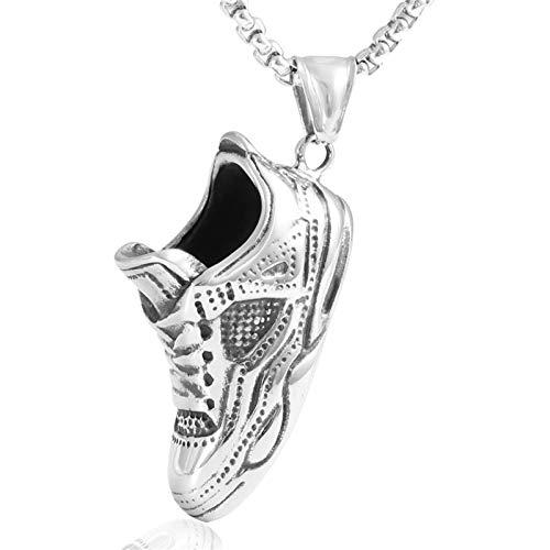 Titane Acier Chaussures De Course Pendentif Collier Tendance Hommes 's Cadeau En Acier Inoxydable Baskets Pendentif Argent