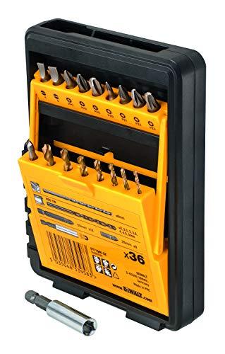 DEWALT DT71565-QZ - Juego de 36 piezas para atornillar y taladrar; Brocas para Mampostería Ø6 mm, Brocas para metal Ø2,2,5,3,3,5,4,4,5,5 mm, 9 x puntas de 25mm, 18x puntas de50mm + Adaptador magn.