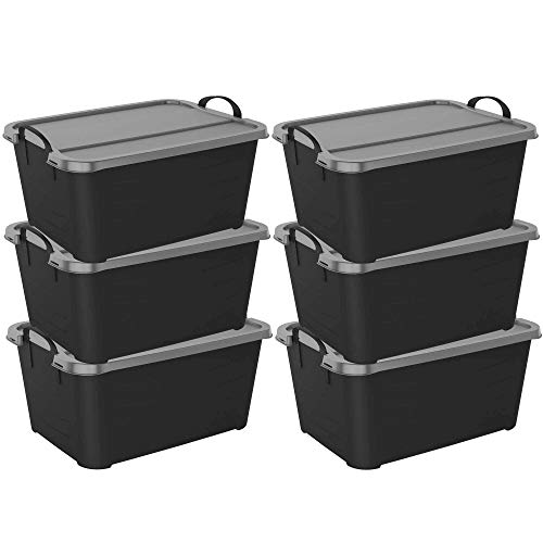 Life Story Stackable Locking Closet Storage Box 13 Gallon Containers 6 Pack