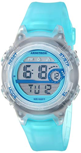 Armitron Sport Women's 45/7088TLB Digital Chronograph Translucent Light Blue Resin Strap Watch