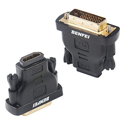 Adaptateur DVI vers HDMI, BENFEI DVI bidirectionnel (DVI-D) vers HDMI mâle vers Femelle avec Cordon plaqué Or 2 Pack