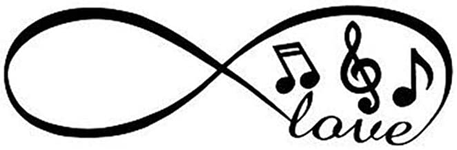 Sticker de carro 20X6.3 CM Infinito amor Música Notas Musical Calcomanías de vinilo interesantes Pegatina para auto 2 piezas