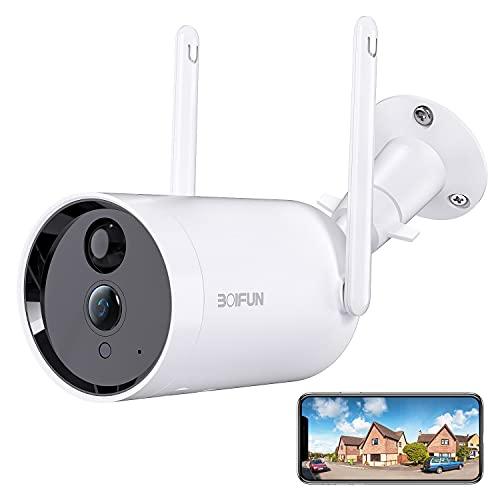 Camara Vigilancia WiFi Exterior, BOIFUN 1080P Cámara Seguridad sin Cables, con Batería de 10400mAh, Detección de Movimiento PIR, Visión Nocturna, Audio de 2 Vias, Impermeable IP66