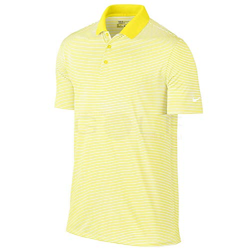 Nike Golf Victory Mini Stripe Polo (Yellow Strike/White) (X-Large)