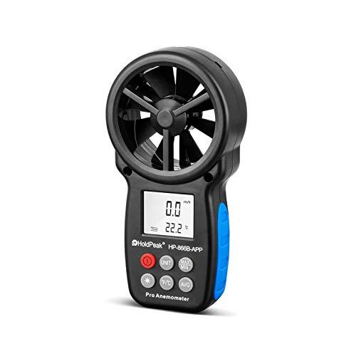 HoldPeak 866B-APP Bluetooth Anemómetro Digital de Mano, Medidor de Velocidad del Viento para Medir Velocidad del Viento, Temperatura y Sensación Térmica con Luz de Fondo para Vela, Cometa, Surf