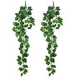 Plantas de Hiedra Falsas de Plástico, Plantas Artificiales Decorativas Colgantes Verde para Interiores, 95 cm, Hiedra Artificial Planta Decoración para Pared de Bodas al Aire Libre