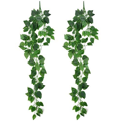 N\A 2 Stück Künstliche Aufhängen,Efeu Pflanzen Gefälschte Kunststoff Grün, Künstliche Pflanze Innenbereich,95CM,Greenery Deko für Hochzeit Wand Im Freien Hängen Pflanzer Zaun Garten.