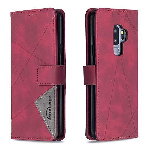 Lomogo Galaxy S9+ (S9 Plus) Hülle Leder, Schutzhülle Brieftasche mit Kartenfach Klappbar Magnetisch Stoßfest Handyhülle Case für Samsung Galaxy S9+ /G965F - LOBFE220222 Rot