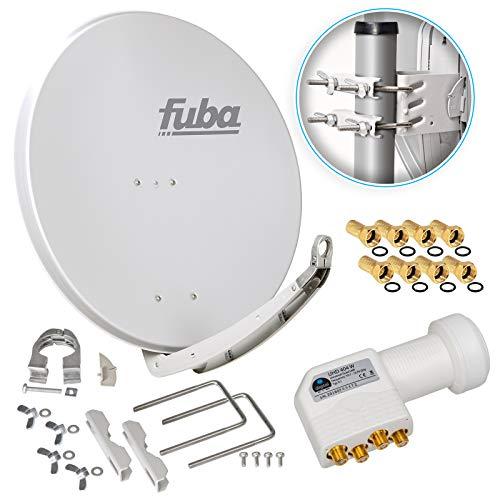 Fuba DAA 850 G 85cm Sat Schüssel Hellgrau Satellitenantenne Aluminium Reflektor + HB-DIGITAL UHD Quad LNB 4 Teilnehmer Direktanschluss weiß 4K Ultra HDTV Full HD 3D fähig + 8X F-Stecker vergoldet